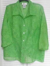 "Women's Burnout Blouse by ""Susan Graver"" Size: Large, Spring Green"