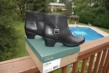 NIB Clark's Black Leather Buckle Detail Booties Gorgeous Shoes Ankle Boots 11 M
