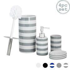 Bathroom Accessories Set 4 pcs - Soap Pump, Dish, Tumbler & Brush - Grey Stripe