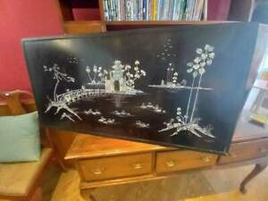 SIGNED Mother pearl inlay inlaid lacquered lacquer Vietnamese picture wall panel