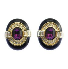 Authentic OSCAR DE LA RENTA Black Enamel Gold Purple Rhinestone EARRINGS