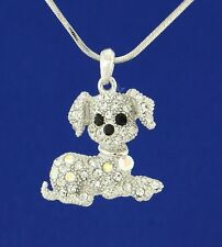 Dog W Swarovski Crystal Clear AB Beagle Puppy Pet Pendant Necklace Gift Charm