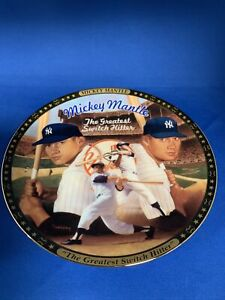 """MICKEY MANTLE """" GREATEST SWITCH HITTER """" Sports Impressions Gold Edition Plate"""
