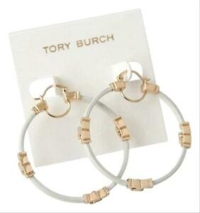 Tory Burch Gold and White Serif T Leather Hoop Earrings