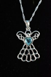 Pale Blue Angel Pendant Necklace by AVON - NEW In Box