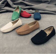 Hot Boy's Girl's Slip On Casual Loafers Soft Round Toe Flats Genuine Suede Shoes
