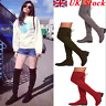 UK STOCK WOMENS LADIES FLAT LOW HEEL OVER THE KNEE HIGH STRETCH SUEDE BOOTS SIZE