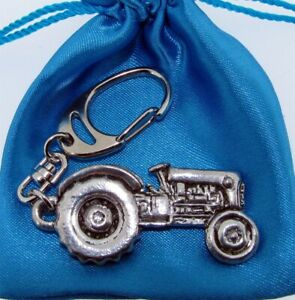 Tractor Silver Pewter Quality 3D Keyring With A Beautiful Gift Bag
