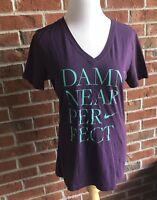 "Ladies Cut V-neck Slim Fit Nike T-Shirt ""Damn Near Perfect"" - Size L"