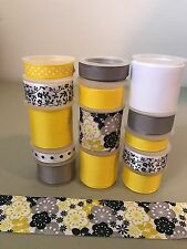 New listing Lot Of 14 Yds. Of Grosgrain Ribbon - Yellow / Silver - B179N