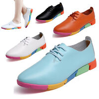 Women's Ladies Pointed Flat Shoes Leather Lace Up Colorful Sole Casual Trainers