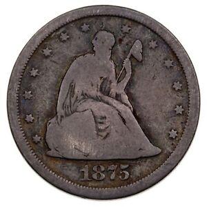 1875-S 20C Twenty Cent Piece in Good Condition, Heavy Toning