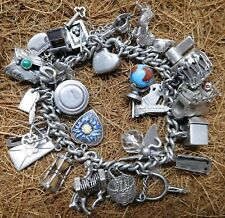 Vintage Heavy Sterling Silver Charm Bracelet With 30 Charms - 2 Ounces of Silver