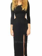 Black Maxi Dress New Split Sexy Size XL/14 to 16 Aus