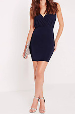 MISSGUIDED slinky strappy plunge bodycon dress navy (M3/12)