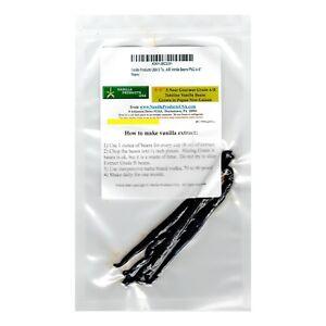 """Vanilla Products USA 5 Tahitian Near Gourmet Grade A/B Vanilla Beans PNG 4~5"""""""
