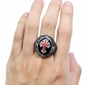 Round Bishop RUBY Cross Christian Cleric Pope Stainless Steel Black Men Ring