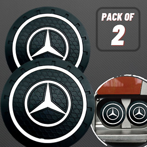 Set of 2 Pcs MERCEDES LOGO BLACK CAR COASTERS RUBBER SILICONE CUP HOLDER INSERT
