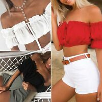 Fashion Women's Ladies Summer Lace Off-shoulder Casual Blouses Crop Tops T-Shirt
