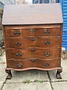 "Mahogany Secretary Desk Slant Top Curved Front Drawers Lion Feet 39""H x 30.25""W"