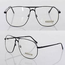 Mens Womens Retro Metal Frame Clear Lens aviator driving glasses Black