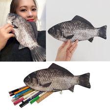 Funny Rare Silver Carp Fish Zipper Change Purse Pencil Case Make-Up Pouch Bag