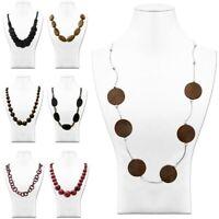 Perlen Holzkette Naturschmuck Halskette Vintage Boho Hippie Lang Damen Braun