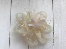Cream Ivory Feather Fascinator Hair Clip Ladies Day Races Party Wedding
