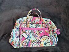 NWT Vera Bradley Iconic Grand Weekender Travel Bag Wildflower Paisley Pink