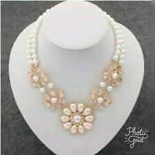 Rhinestones crystal Flower Choker Necklace Chain Simulated pearl jewelry