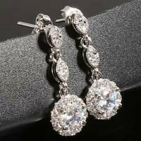 1 Pair Elegant  Zircon Diamond Stud Earrings Hoop Womens Jewellery LL