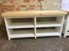 Long Rustic Wooden Solid Pine Freestanding Open Kitchen Centre Island Unit