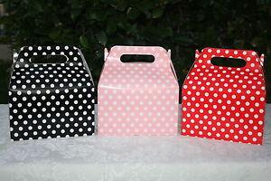 Polka Dot Minnie Mickey Birthday Treat Goody Favor Boxes Party Supply You Pick