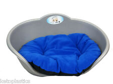 EXTRA LARGE PLASTIC SILVER GREY PET BED WITH BLUE CUSHION DOG CAT SLEEP BASKET