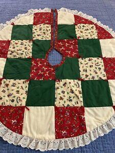"Vintage Handmade Calico Patchwork Quilt Christmas Tree Skirt 34"" round #913"