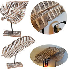2 XL Deko Holz-Objekt Set Tropical Palmen-Blatt 38cm Figur Statue Skultur Afrika