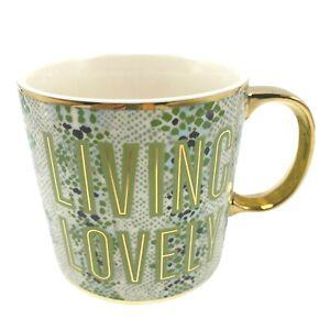Anthropologie Living Lovely Green Gold Coffee Mug