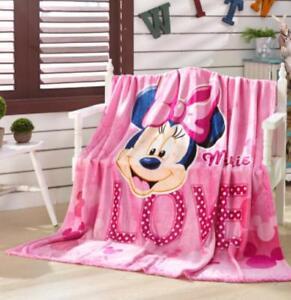 cute minnie pink bowknot fuzzy fleece quilt blanket rug warm carpet 150x200cm