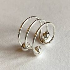 925 Sterling Silver Ear Clip Cuff Non Pierced Earring Boxed 3 Bar Moving Ball