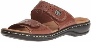 CLARKS Womens leisa lacole Open Toe Casual Slide Sandals, Tan Leather, Size 8.0