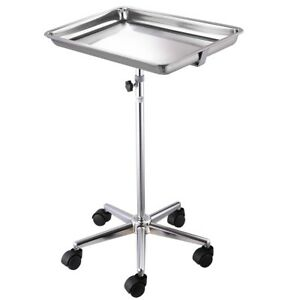 Mobile Mayo Stainless Steel Tray Stand Trolley Medical Doctor Salon Equipment