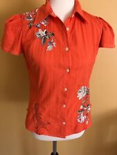 Johnny Was 3J Cotton Short Sleeved Embroidered Fitted Blouse - Small
