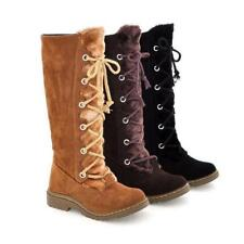 Women's Chunky Heel Fur Lined Faux Suede Knee High Snow Boots Lace Up Shoes