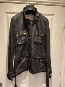 MULBERRY LEATHER  BIKER JACKET UK 12 black pre owned