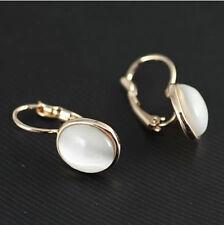charming Sri Lanka white opal jade oval earring drop women's Lever back