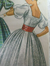 Vtg 50s Simplicity EVENING DRESS SQUARE-BACK PUFF-SLEEVES Sewing Pattern Women