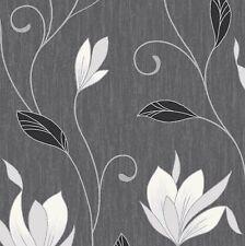 NEW Ebony Black / Silver Glitter- M0783-Synergy Floral Textured Vymura Wallpaper