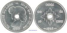 ROYAUME  DU  LAOS  ,  10  CENTS  ALU  1952  ,  SUPERBE À FLEUR DE COIN