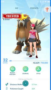 Pokemon-Account Go Level 32 With 62 Legendary, Shiny Entei, Mewtwo, Rayquaza