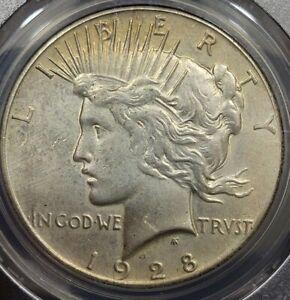 1928 Peace Dollar KEY DATE! PCGS AU Details Cleaned still lots of eye appeal